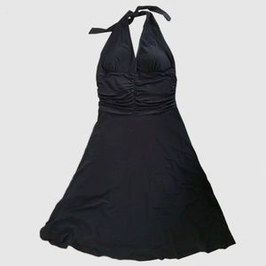 Black halter ruched waist, low back dress